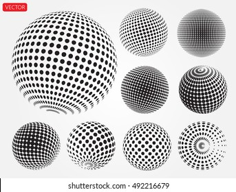 Set of halftone 3D spheres.Halftone vector design element.