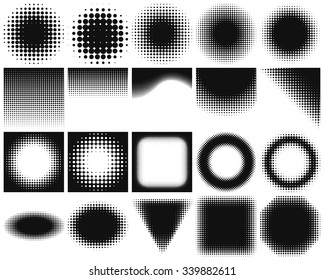 Set of halftone backgrounds. Dotted abstract forms: frames, circles, rectangles. Black dots on white background. Vector illustration. Blank design elements collection with halftones.