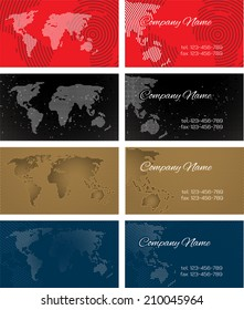 Set of halftone bussines cards with continents for design