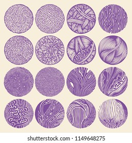 Set of halftone drawing circles. abstract design elements. vector illustration