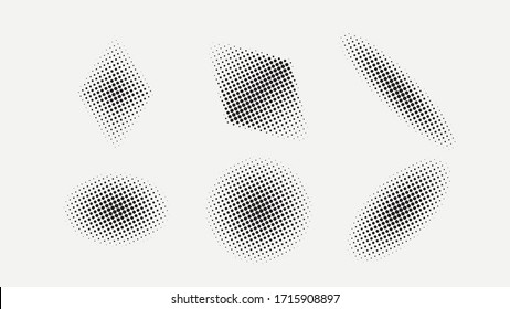 Set of halftone effects. Template for your design. Vector illustration.