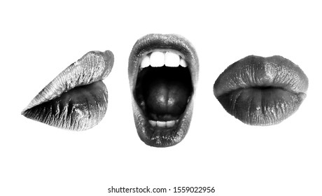 Set of Halftone Female mouths in different poses. Wide open mouth and closed kissing lips, side and front view