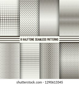 Set of halftone seamless patterns. Modern stylish textures with regularly repeating geometric shapes, rhombuses, triangles, dots, flowers of the different size. Gradation from bigger to smaller