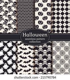 Set of halloween backgrounds. Collection of seamless patterns in black and white colors. Vector illustration.