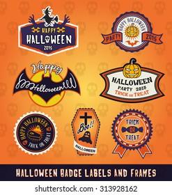 Set of Halloween badge label and frames design. For sticker, tags, label and other design. Vector illustration