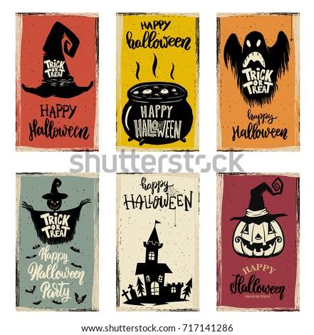Set Halloween Banner Templates Monster Characters Stock Vector ...