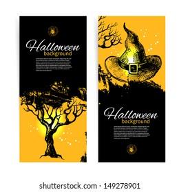 Set of Halloween banners. Hand drawn illustration