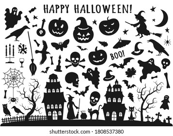 Set of Halloween black icons. Vector illustration in flat style with witch, cat, raven, hat, ghosts, bats, candle, pumpkin, spider, cobweb, skull and bones