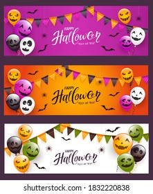 Set of Halloween cards. Scary balloons, pennants, spiders, bats and text Happy Halloween on holiday banners on black background. Illustration for children's holiday design, decoration, card, banner