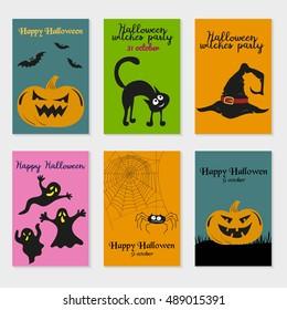 Set of  Halloween cards. Vector Illustration. Design for poster, card, invitation, placard, brochure, flyer.