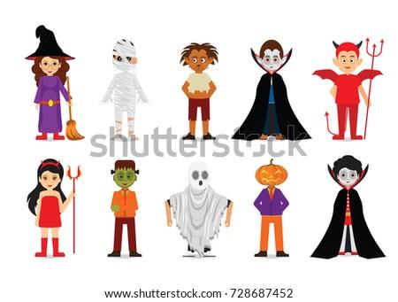 Set Halloween Cartoon Characters Mummy Zombie Stock Vector (Royalty ...