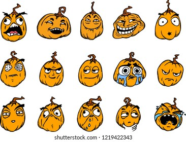 Set of Halloween cartoon memes in color. Pumpkins with scary faces on white.
