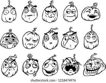 Set of Halloween cartoon memes. Pumpkins with scary faces on white.