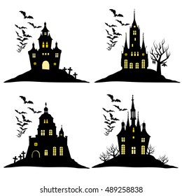 Set of halloween castle with bats black silhouette on the hill. Vector illustration.