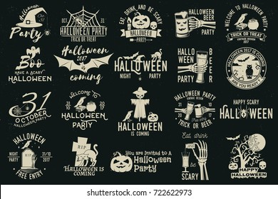 Set of Halloween celebration collection with retro grunge effect. Halloween party retro templates, badges, seals, patches. Concept for shirt or logo, print, stamp. Typography design- stock vector.