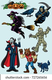 set of halloween character