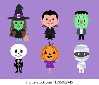 Set of Halloween characters flat design. mummy, zombie,  frankenstein's monster, vampire, dracula, pumpkin head, witch, skeleton. Design great for party decoration