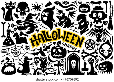 A set of Halloween characters and items: bat, blood, bones, broom, candle, candy, cat, death, ghost, monster, owl, scars, skull, snake, spider, tombstone, vampire, witch, zombie.