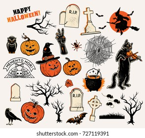 Set of Halloween Characters: pumpkins, witches silhouette, bats, cauldron, spiders and web, cat with violin, evil-boding trees, zombie hand, headstones, crow, owl, mouses.
