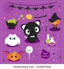 Set of halloween characters and shapes. Vector illustration.