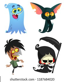Set of Halloween characters. Vector cartoon zombie,  bat, death grim reaper, ghost.  Great for party decoration