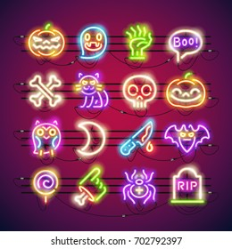 Set of Halloween colorful neon signs makes it quick and easy to customize your holiday projects. Used neon vector brushes included.
