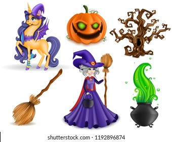 Set of Halloween Concept, 3D Pony Unicorn, Cobra Snake, Pumpkin with Green Eyes and Witch Character, Brown Tree, Broomstick, Cauldron, Wizard Hats, Isolated, Hand Drawn, Realistic Vector Illustration