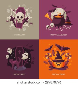 Set of Halloween Concepts. Vector Illustration. Orange Pumpkin and Spider Web, Witch Hat and Cauldron, Skull and Bones, Night Party. Trick or Treat.