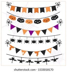 Set of halloween decorations. Vector illustration.