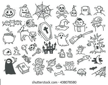 set of Halloween doodle