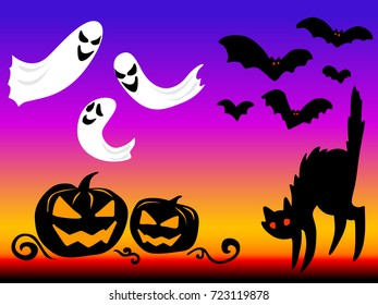 Set of halloween element. Haloween party sign vector illustration. helloween icon collection. Flat design cartoon concept