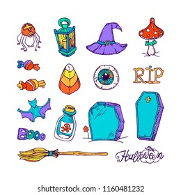 Set of halloween elements. Bright colored, outlined freehand drawings