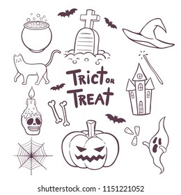 Set of Halloween elements hand drawn doodles vector illustration