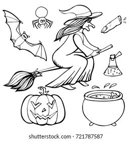 A set of Halloween elements. Images drawn in a hand-drawn line in a vector, isolated. Page for coloring pages
