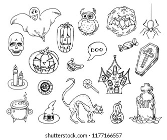 Set of Halloween elements. Magic pumpkin, house, black cat, potion and cauldron, skull. doodle for zombie party. Hand drawn engraved vintage sketch.
