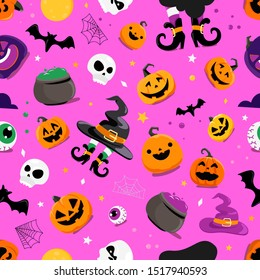 Set of Halloween elements seamless vector pattern