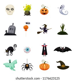 Set of halloween feast, collection of attributes halloween skull, vampire, witch cauldron, witch on broom, bat, pumpkin, zombie, eye, grave, black cat, drug, ghost, spider, icons, vector, cartoon