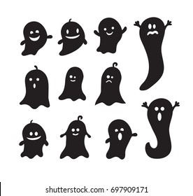 Set of halloween ghosts for design isolated on background. Laser cut scare characters with assorted expressions. Silhouette of spooks. Flat vector illustration. Icon for apparition.