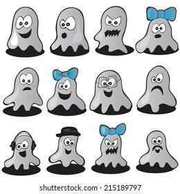 Set of halloween  ghosts for design - vector