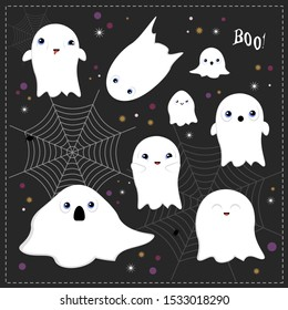 Set of halloween ghosts, funny and scary faces. Vector illustration.