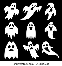 Set of halloween ghosts isolated on background
