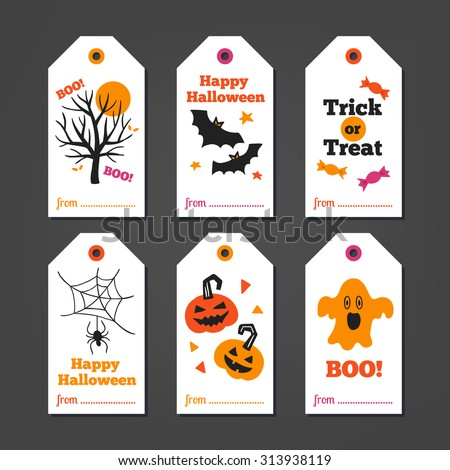 Set of Halloween Gift Tags with autumn tree bats candy spider pumpkins  sc 1 st  Shutterstock & Set Halloween Gift Tags Autumn Tree Stock Vector (Royalty Free ...