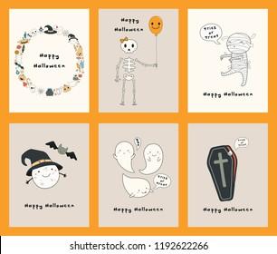 Set halloween greeting cards kawaii funny stock vector royalty free set of halloween greeting cards with kawaii funny characters text mummy skeleton m4hsunfo