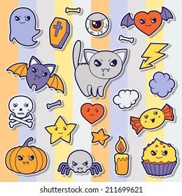 Set of halloween kawaii cute sticker doodles and objects.