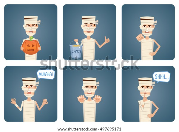 Set Halloween Mummy Characters Posing Different Stock Vector Royalty Free 497695171 It is really easy to make a great costume from simple items that you might have lying around the house or purchase one. shutterstock