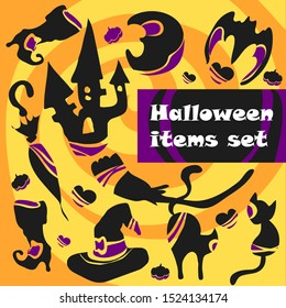 Set of Halloween paraphernalia, includes witch hat, witch boots, umbrella, broom, cat, bat, moon, house. For designing Halloween design, souvenirs and stickers.