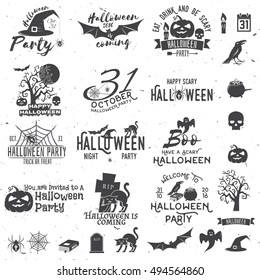 Set of Halloween party concept and design elements. Concept for shirt or logo, print, stamp. Stock vector.