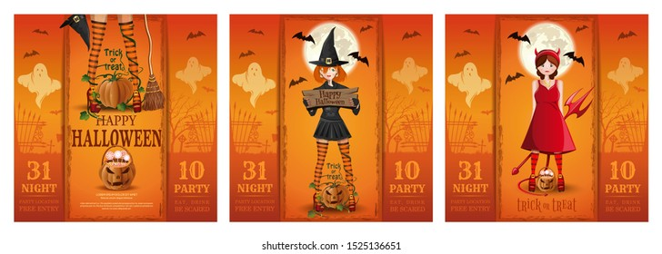 Set of Halloween party invitation cards. Halloween poster with cute girls in fancy dress. Vector illustration