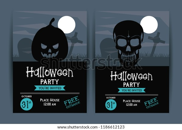 Set Halloween Party Invitation Cards Stock Vector Royalty