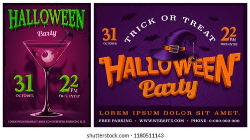 Set of halloween party posters, banners, flyer, backgrounds. Design templates.